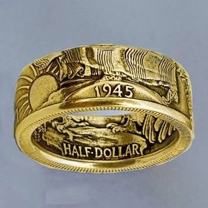 Gold plated Antique Coin Morgan United States Ring